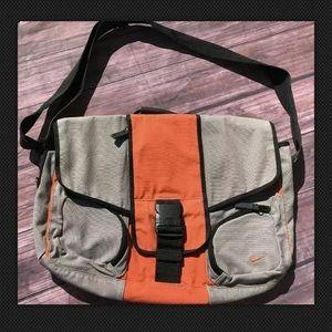 Nike Messenger Laptop Bag Gray Orange Canvas